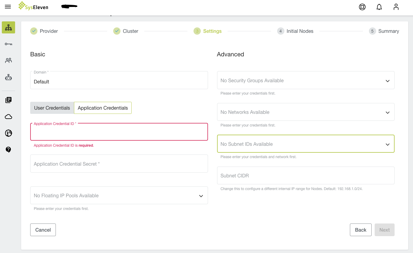Overview of cluster settings with highlighted tenant section