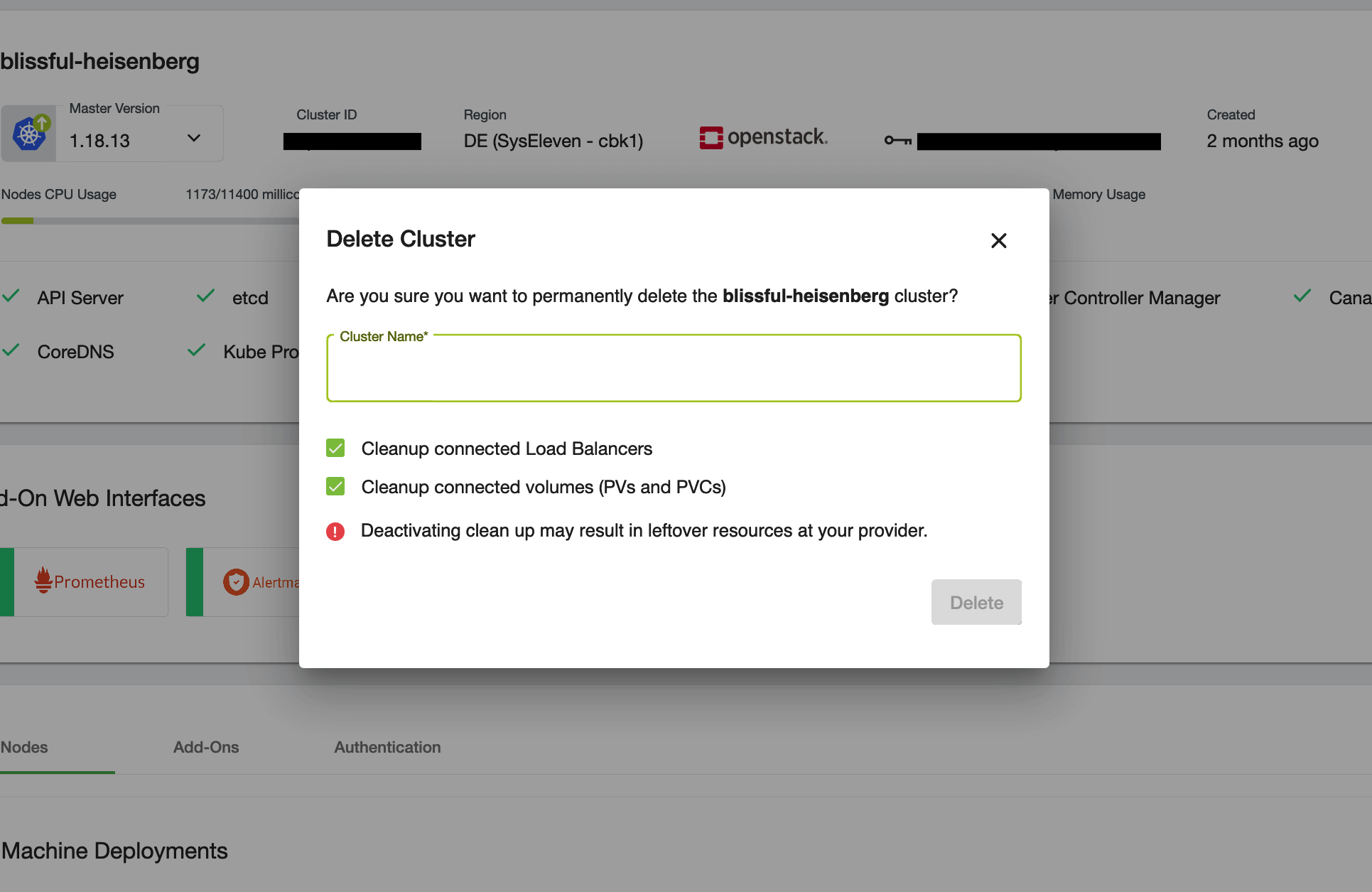 Confirmation dialog for the cluster deletion